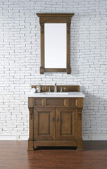 James Martin 147-114-5571-3SNW Brookfield 36 Inch Country Oak Single Vanity with Snow Carrara White Top