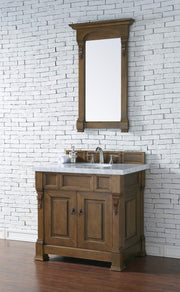 James Martin 147-114-5571-4CAR Brookfield 36 Inch Country Oak Single Vanity with Carrara White Top