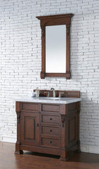 James Martin 147-114-5586-4CAR Brookfield 36 Inch Warm Cherry Single Vanity and Drawers with Carrara White Top