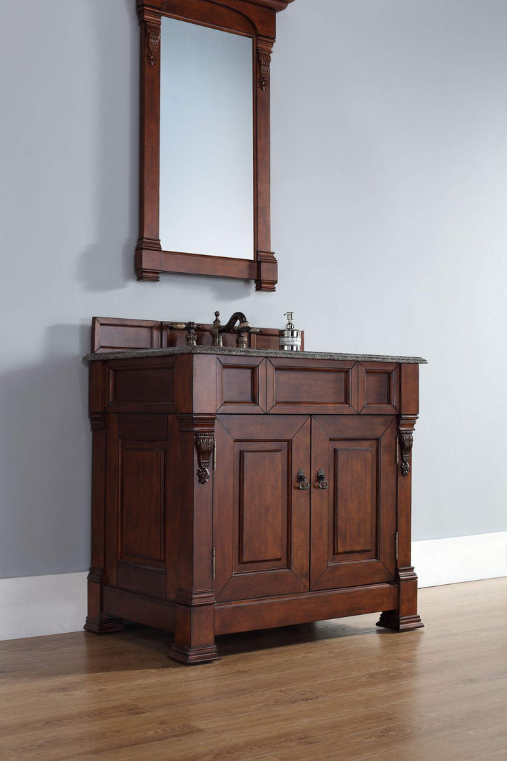 James Martin 147-114-5581-2GLB Brookfield 36 Inch Warm Cherry Single Vanity with Galala Beige Stone Top