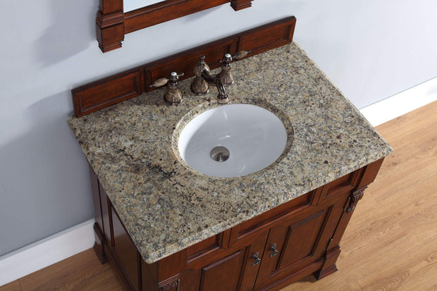 James Martin 147-114-5581-2DSC Brookfield 36 Inch Warm Cherry Single Vanity with Santa Cecilia Stone Top