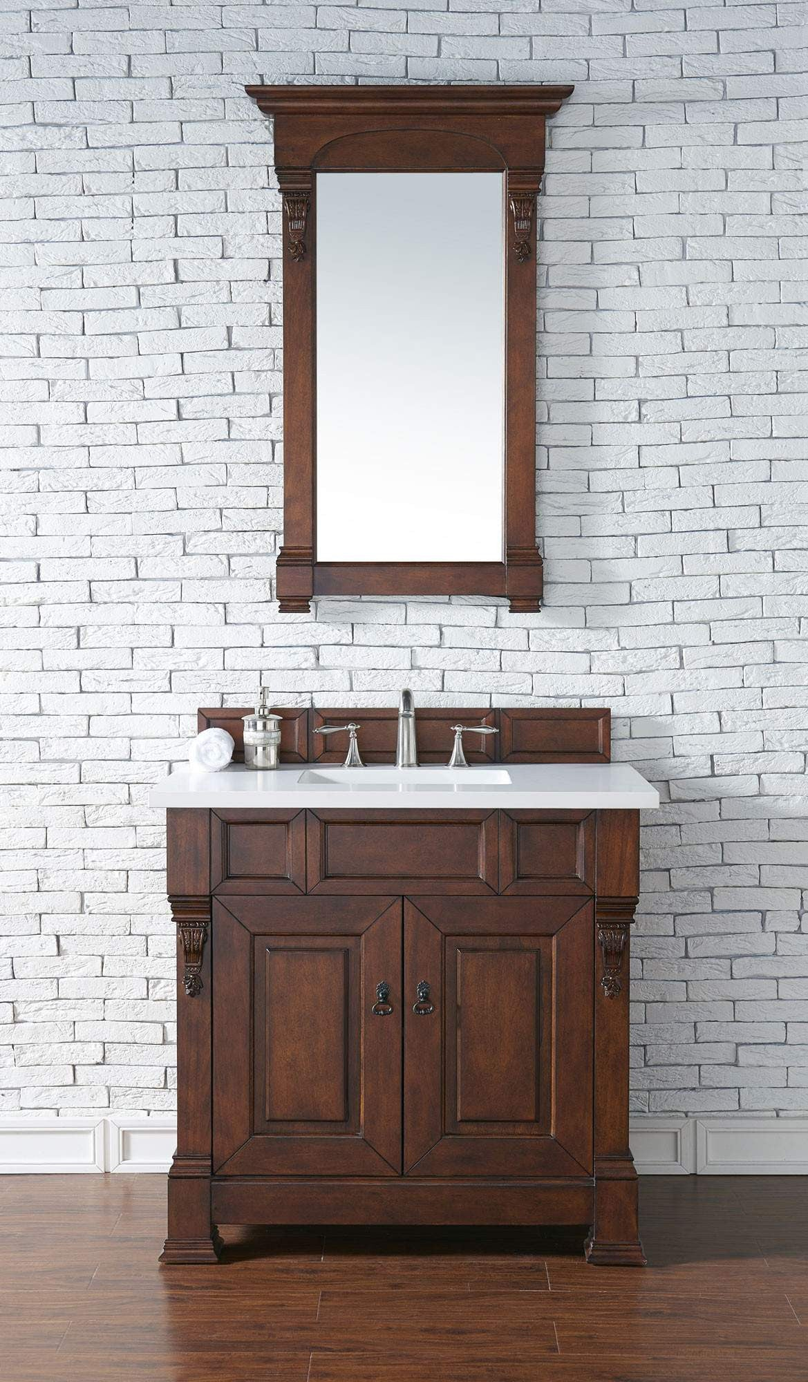 James Martin 147-114-5581-3SNW Brookfield 36 Inch Warm Cherry Single Vanity with Snow Carrara White Top