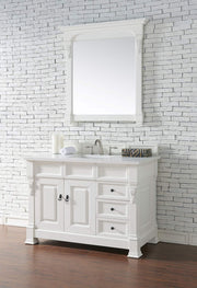 James Martin 147-114-5246-3SNW Brookfield 48 Inch Cottage White Single Vanity and Drawers with Snow Carrara White Top