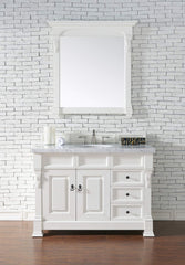 James Martin 147-114-5246-4CAR Brookfield 48 Inch Cottage White Single Vanity and Drawers with Carrara White Top