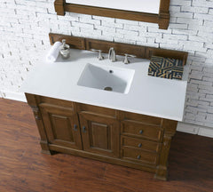 James Martin 147-114-5276-3SNW Brookfield 48 Inch Country Oak Single Vanity and Drawers with Snow Carrara White Top