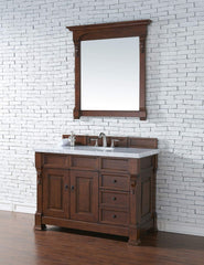 James Martin 147-114-5286-4CAR Brookfield 48 Inch Warm Cherry Single Vanity and Drawers with Carrara White Top