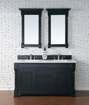James Martin 147-114-5631-3SNW Brookfield 60 Inch Antique Black Double Vanity with Snow Carrara White Top