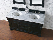 James Martin 147-114-5631-4CAR Brookfield 60 Inch Antique Black Double Vanity with Carrara White Top