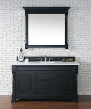 James Martin 147-114-5331-3SNW Brookfield 60 Inch Antique Black Single Vanity with Snow Carrara White Top