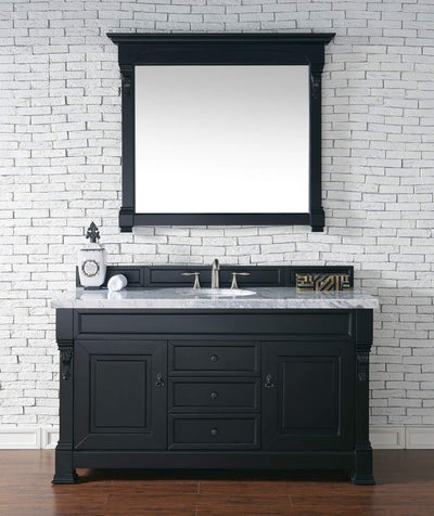 James Martin 147-114-5331-4CAR Brookfield 60 Inch Antique Black Single Vanity with Carrara White Top