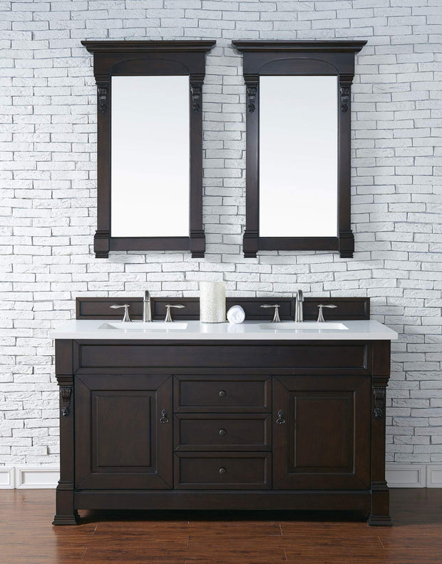 James Martin 147-114-5661-3SNW Brookfield 60 Inch Burnished Mahogany Double Vanity with Snow Carrara White Top