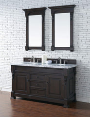 James Martin 147-114-5661-4CAR Brookfield 60 Inch Burnished Mahogany Double Vanity with Carrara White Top
