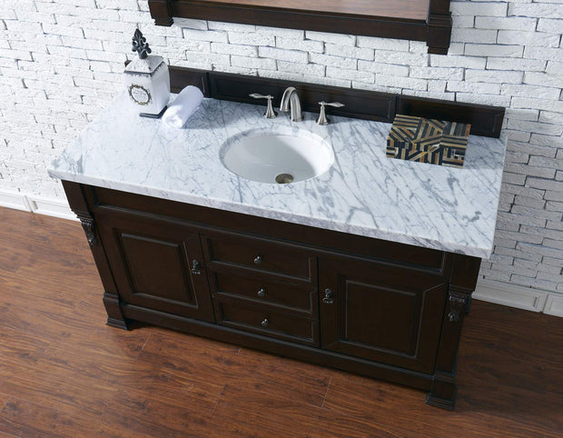 James Martin 147-114-5361-4CAR Brookfield 60 Inch Burnished Mahogany Single Vanity with Carrara White Top