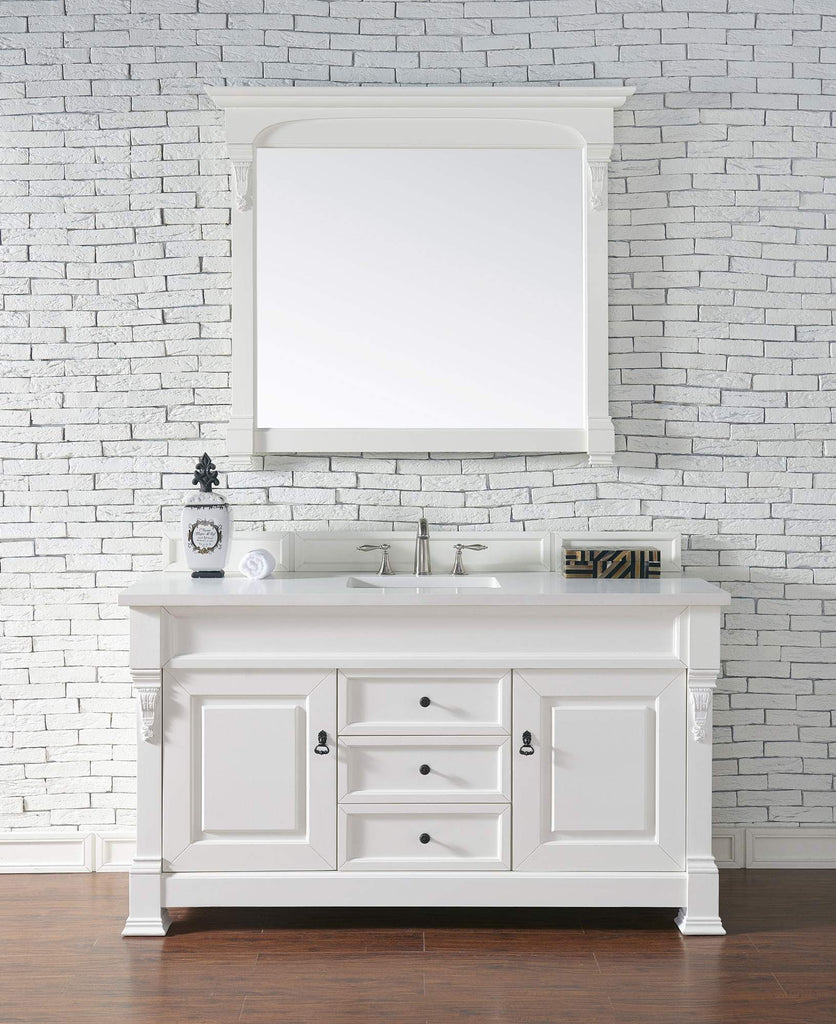 James Martin 147-114-5341-3SNW Brookfield 60 Inch Cottage White Single Vanity with Snow Carrara White Top