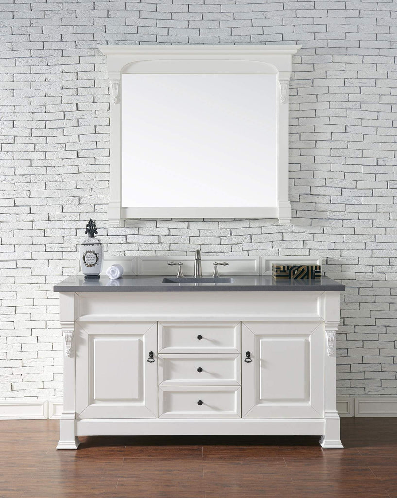 James Martin 147-114-5341-3SHG Brookfield 60 Inch Cottage White Single Vanity with Shadow Gray Top