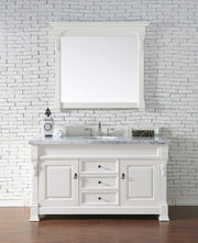 James Martin 147-114-5341-4CAR Brookfield 60 Inch Cottage White Single Vanity with Carrara White Top