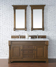 James Martin 147-114-5671-3SNW Brookfield 60 Inch Country Oak Double Vanity with Snow Carrara White Top