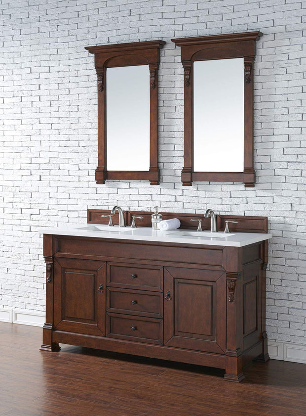 James Martin 147-114-5681-3SNW Brookfield 60 Inch Warm Cherry Double Vanity with Snow Carrara White Top