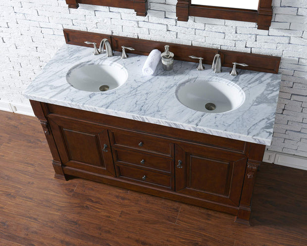 James Martin 147-114-5681-4CAR Brookfield 60 Inch Warm Cherry Double Vanity with Carrara White Top