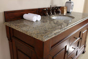 James Martin 147-114-5381-2DSC Brookfield 60 Inch Warm Cherry Single Vanity with Santa Cecilia Stone Top