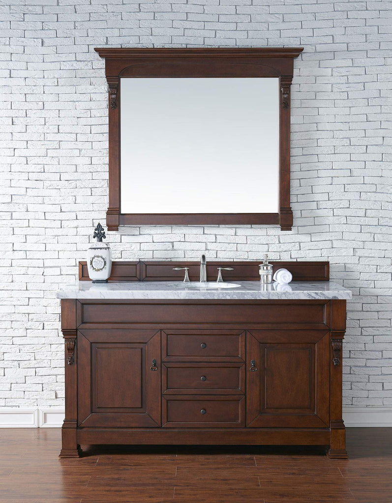 James Martin 147-114-5381-4CAR Brookfield 60 Inch Warm Cherry Single Vanity with Carrara White Top