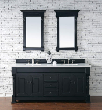 James Martin 147-114-5731-3SNW Brookfield 72 Inch Antique Black Double Vanity with Snow Carrara White Top