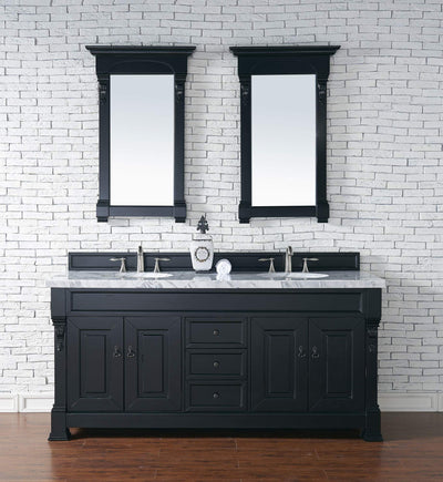 James Martin 147-114-5731-4CAR Brookfield 72 Inch Antique Black Double Vanity with Carrara White Top