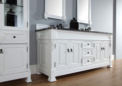 James Martin 147-114-5741-2CAR Brookfield 72 Inch Cottage White Double Vanity with Carrara White Stone Top