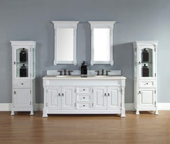 James Martin 147-114-5741-2GLB Brookfield 72 Inch Cottage White Double Vanity with Galala Beige Marble Stone Top