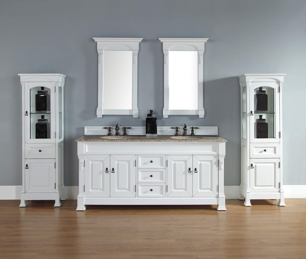 James Martin 147-114-5741-2DSC Brookfield 72 Inch Cottage White double Vanity with Santa Cecilia Stone Top