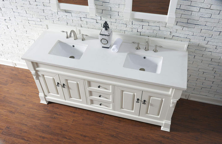 James Martin 147-114-5741-3SNW Brookfield 72 Inch Cottage White Double Vanity with Snow Carrara White Top