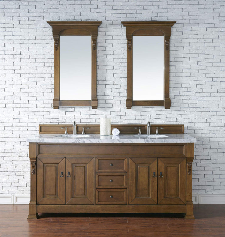 James Martin 147-114-5771-4CAR Brookfield 72 Inch Country Oak Double Vanity with Carrara White Top