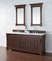 James Martin 147-114-5781-3SNW Brookfield 72 Inch Warm Cherry Double Vanity with Snow Carrara White Top