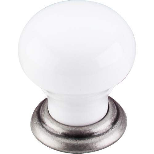 TOP KNOBS M111 PTA CHATEAU CERAMIC KNOB SMALL 1-1/8 INCH PEWTER ANTIQUE AND WHITE