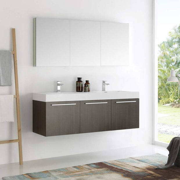 Fresca FVN8093GO-D Senza Vista 60 Inch Gray Oak Wall Hung Double Sink Modern Bathroom Vanity with Medicine Cabinet