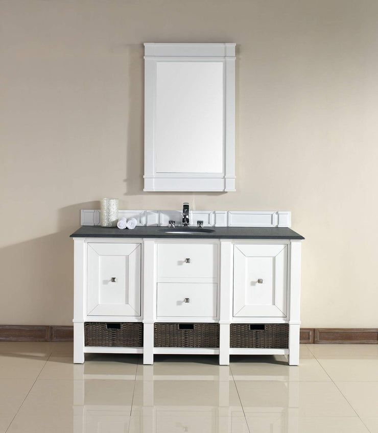 James Martin 800-V60D-CWH Madison 60 Inch Double Vanity Cabinet, Cottage White