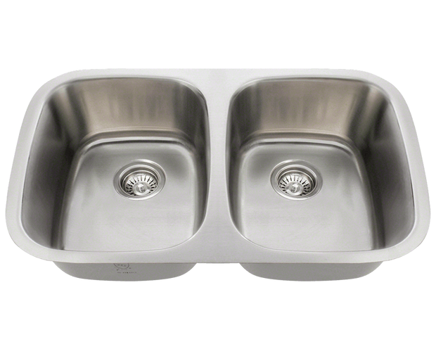 Polaris P015-16 DOUBLE BOWL STAINLESS STEEL SINK 29-1/4 INCH BRUSHED SATIN