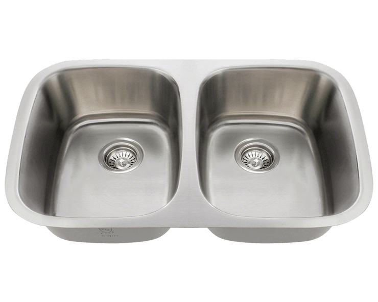Polaris P015 DOUBLE BOWL STAINLESS STEEL SINK 29-1/4 INCH BRUSHED SATIN