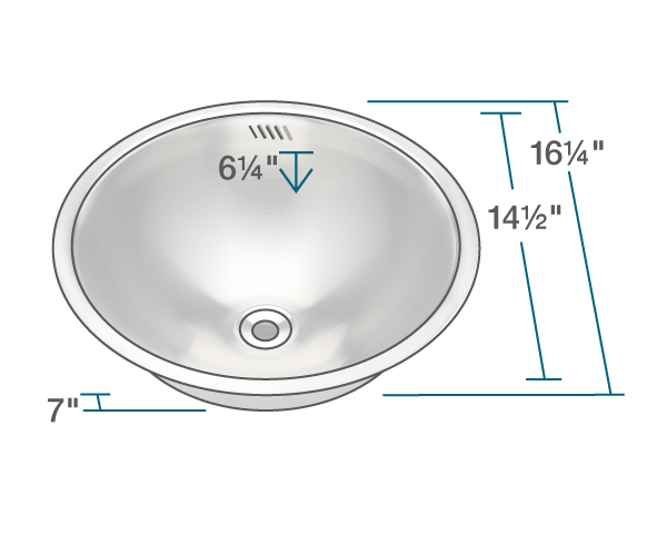 POLARIS P024 STAINLESS STEEL BATHROOM SINK 16-1/4 INCH BRUSHED SATIN