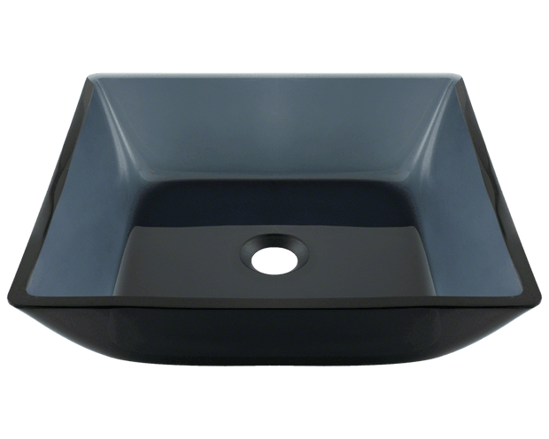 POLARIS P036 SQUARE BLACK GLASS VESSEL BATHROOM SINK 15-3/4 INCH COLORED GLASS