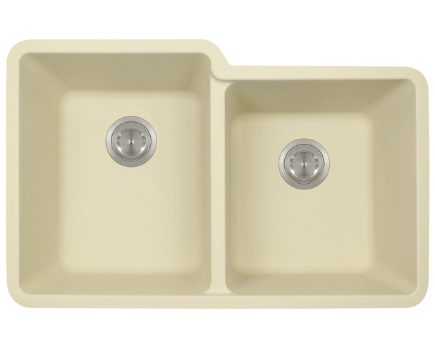 Polaris P108BE 32-1/2 INCH DOUBLE OFFSET BOWL ASTRAGRANITE SINK