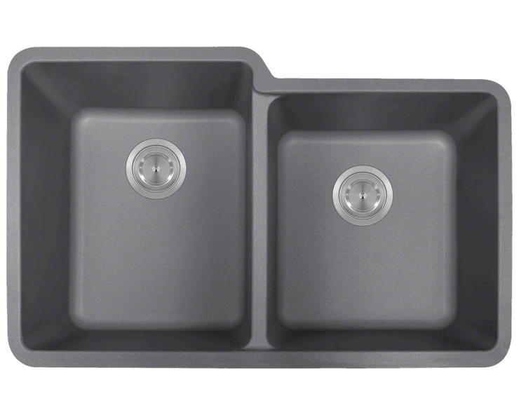 Polaris P108S 32-1/2 INCH DOUBLE OFFSET BOWL ASTRAGRANITE SINK
