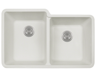 Polaris P108W 32-1/2 INCH DOUBLE OFFSET BOWL ASTRAGRANITE SINK