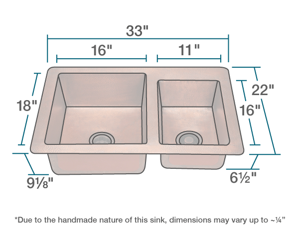 POLARIS P109 OFFSET DOUBLE BOWL COPPER SINK 33 INCH HAMMERED COPPER