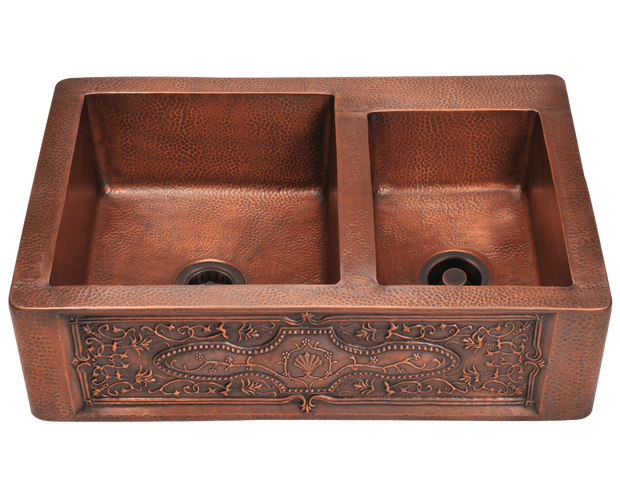POLARIS P119 OFFSET DOUBLE BOWL COPPER APRON SINK 33-1/4 INCH HAMMERED COPPER