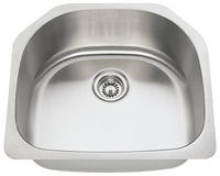 Polaris P1242 D-Bowl Stainless Steel Kitchen Sink 23-1/2 Inch Brushed Satin