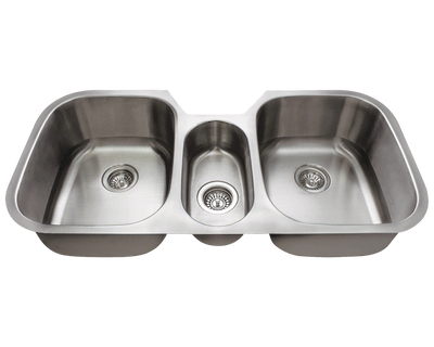 THE POLARIS P1254-16 TRIPLE BOWL STAINLESS STEEL IN BRUSHED SATIN FINISH