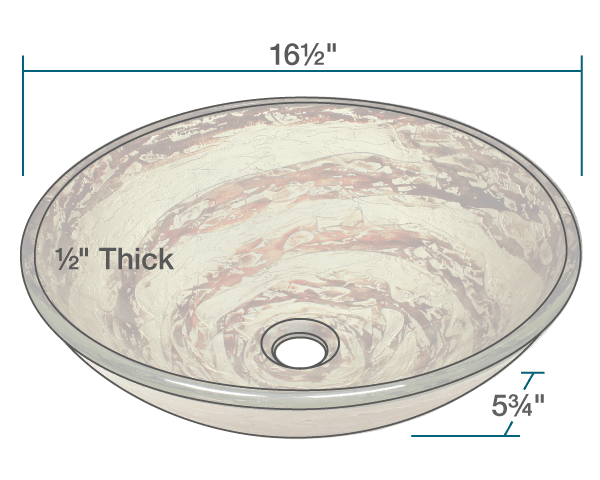 POLARIS P136 FOIL UNDERTONE GLASS VESSEL SINK 16-1/2 INCH FOIL UNDERTONE