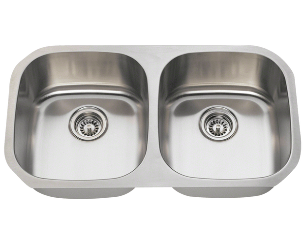 THE POLARIS P205-16 DOUBLE BOWL STAINLESS STEEL KITCHEN SINK IN BRUSHED SATIN