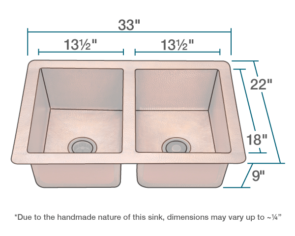 POLARIS P209 EQUAL DOUBLE BOWL COPPER SINK 33 INCH HAMMERED COPPER